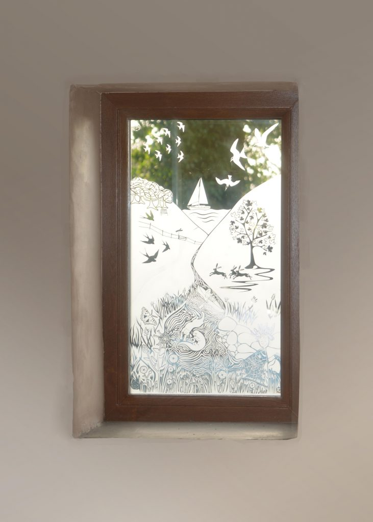 Sandblasted window by Jenny Ayrton