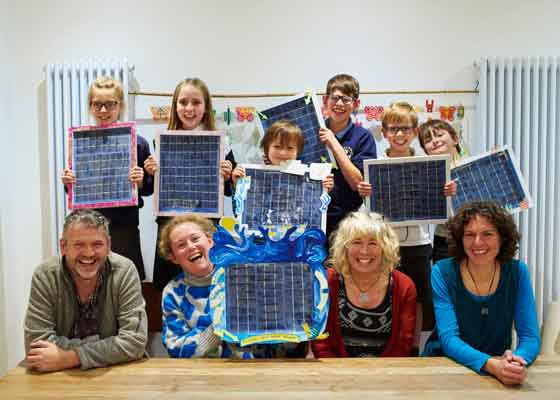 Photo of Art and Energy team, plus participants of the Blue Peter solar artwork workshop